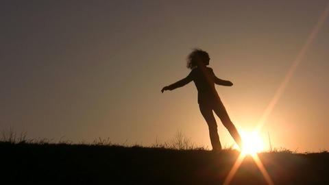 dance girl sunset Footage