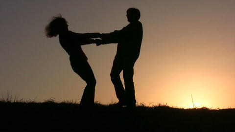 dance couple sunset Footage