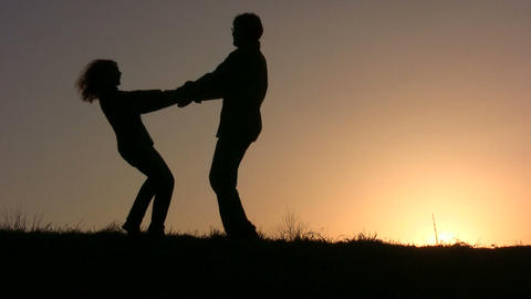 dance couple sunset Stock Video Footage