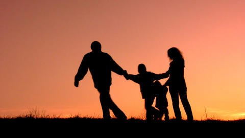 funny family sunset Stock Video Footage