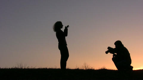 couple make photo sunset Stock Video Footage