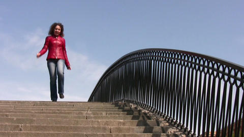 girl on bridge Stock Video Footage