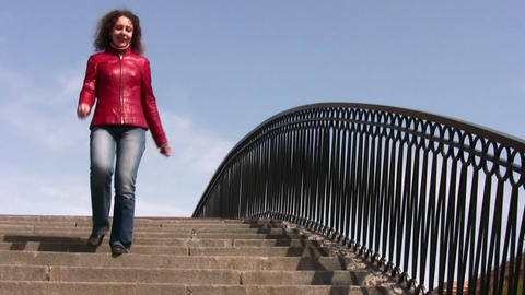 girl on bridge Stock Video Footage