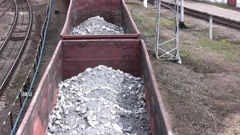 Coal wagons on railway tracks Stock Video Footage
