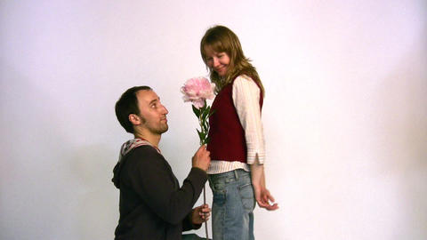 couple with flower Stock Video Footage