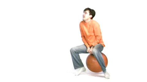 man jump on ball Stock Video Footage