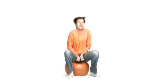 man jump on ball Stock Video Footage