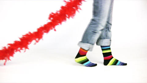 color stripe legs with fur scarf Stock Video Footage