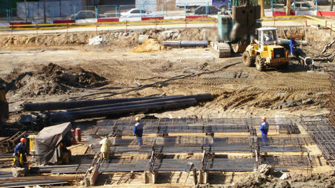 workers on construction Stock Video Footage