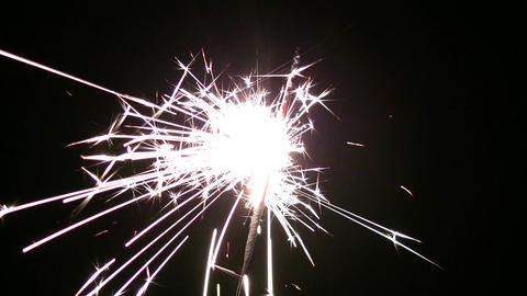 one sparkler Stock Video Footage
