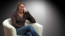 Woman Talking on Phone Front View Footage