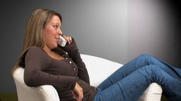 Woman Talking on Phone Side View Stock Video Footage