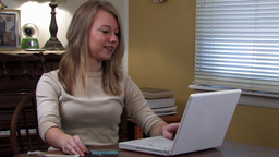 Girl on computer 3 Stock Video Footage