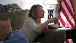 girl on sofa 7 Stock Video Footage