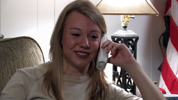 Girl Chatting On Telephone stock footage