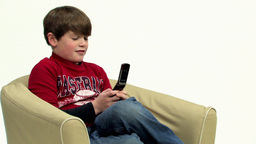 Boy using handphone HD Stock Video Footage