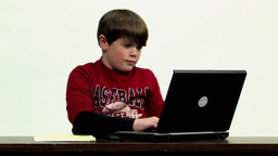 Child using laptop Close up Stock Video Footage