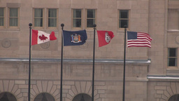 North American Flags In The Wind Stock Video Footage