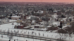 Snow-Covered Winter City Landscape (High Resolution) Stock Video Footage