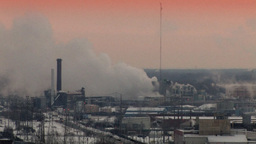 Factory Emissions In An Industrial Landscape (High... Stock Video Footage