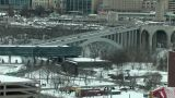 Snow-Covered City Junction In Winter (High Resolution) stock footage