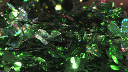 Sparkling Festive Decoration Wires With Green Leaves Pattern Footage