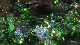 Sparkling Festive Decoration Wires With Green Leaves Pattern Stock Video Footage