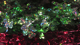 Sparkling Festive Decoration Wires With Green Leaves And... Stock Video Footage