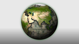 Money-Themed Rotating Globe With Monochrome Dollar... Stock Video Footage