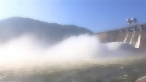 Hydroelectric Power Station in foggy, loop Stock Video Footage