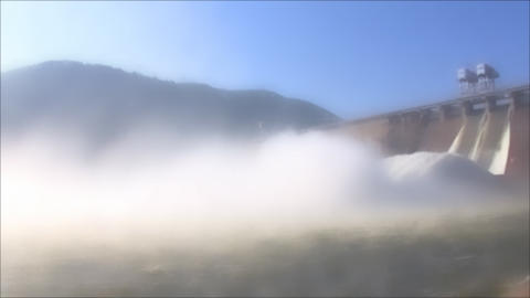 Hydroelectric Power Station in foggy, loop Footage