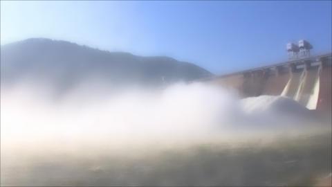 Hydroelectric Power Station in foggy, loop Footage