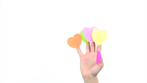 Fingers with hearts bent Stock Video Footage