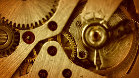 The mechanism of old watches. Close-up. Middle focus Footage