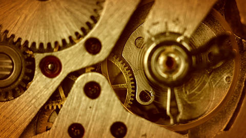The mechanism of old watches. Close-up. Middle focus Stock Video Footage