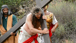 Christ Carrying The Cross Road To Calvary stock footage
