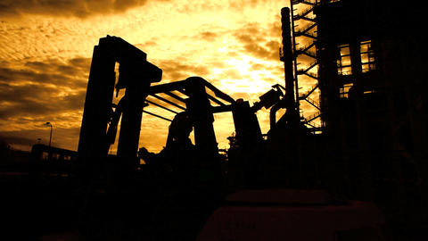 Oil And Gas Plant Silhouette stock footage