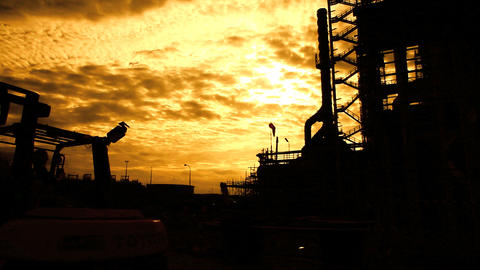 Oil and Gas Plant Silhouette Stock Video Footage