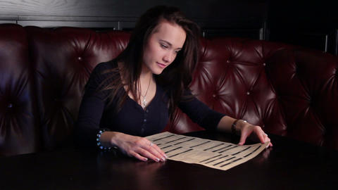 Girl Studying The Menu Stock Video Footage