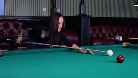 Beautiful Young Woman Playing Billiards Stock Video Footage