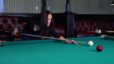 Beautiful Young Woman Playing Billiards Footage