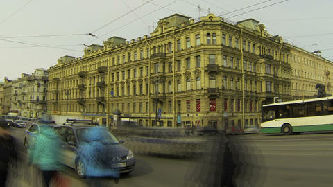 Anichkov bridge in St. Petersburg Stock Video Footage