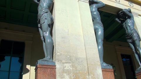 Sculpture of the Atlanteans in St. Petersburg Stock Video Footage