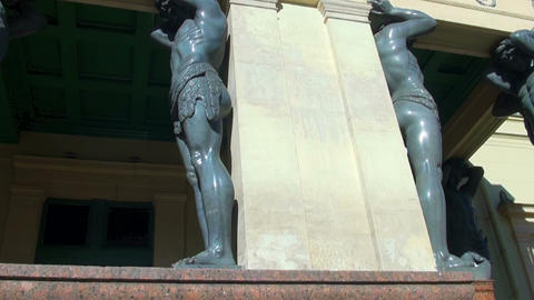 Sculpture of the Atlanteans in St. Petersburg Stock Video Footage