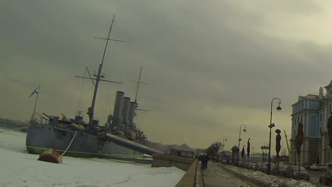 Cruiser Aurora and Nakhimov school in St. Petersburg Stock Video Footage