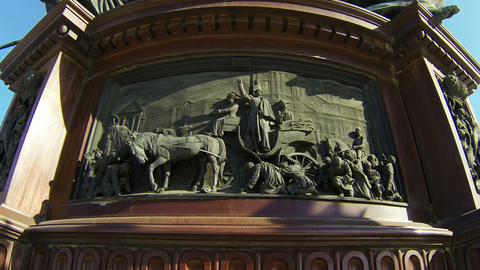 Bas-relief at the monument to Emperor Nicholas I in St.... Stock Video Footage