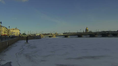 Blagoveshchensky bridge In St. Petersburg Footage