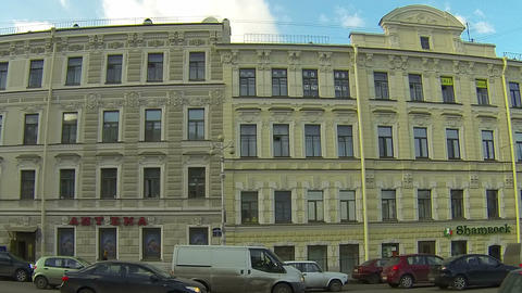 Facade of an old building in St. Petersburg Footage