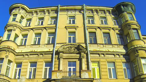 The facade of an old building in St. Petersburg Footage
