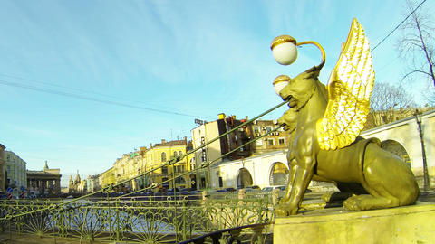 Bank bridge in St. Petersburg. Griffins Stock Video Footage